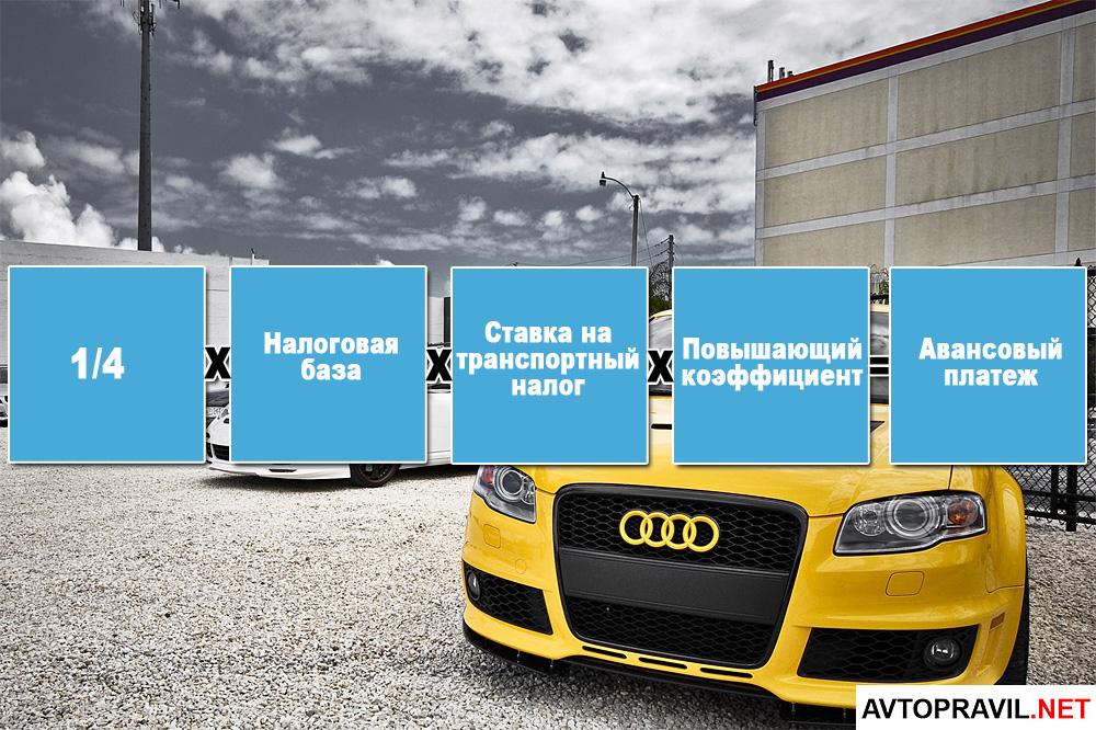 Формула авансового платежа по транспортному налогу