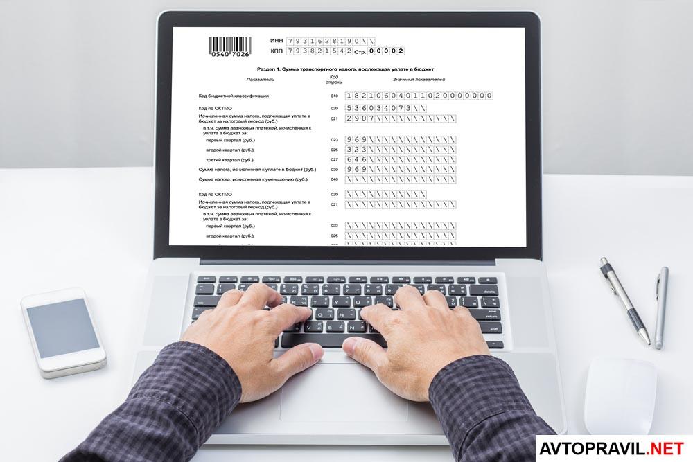человек заполняет налоговую декларацию на компьютере