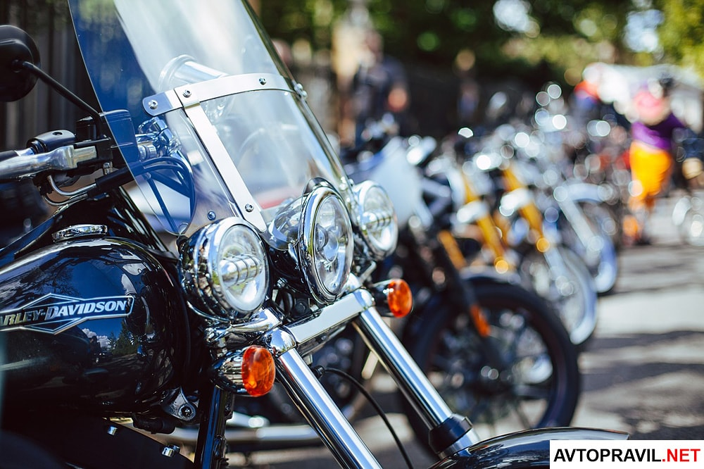 Несколько припаркованных мотоциклов