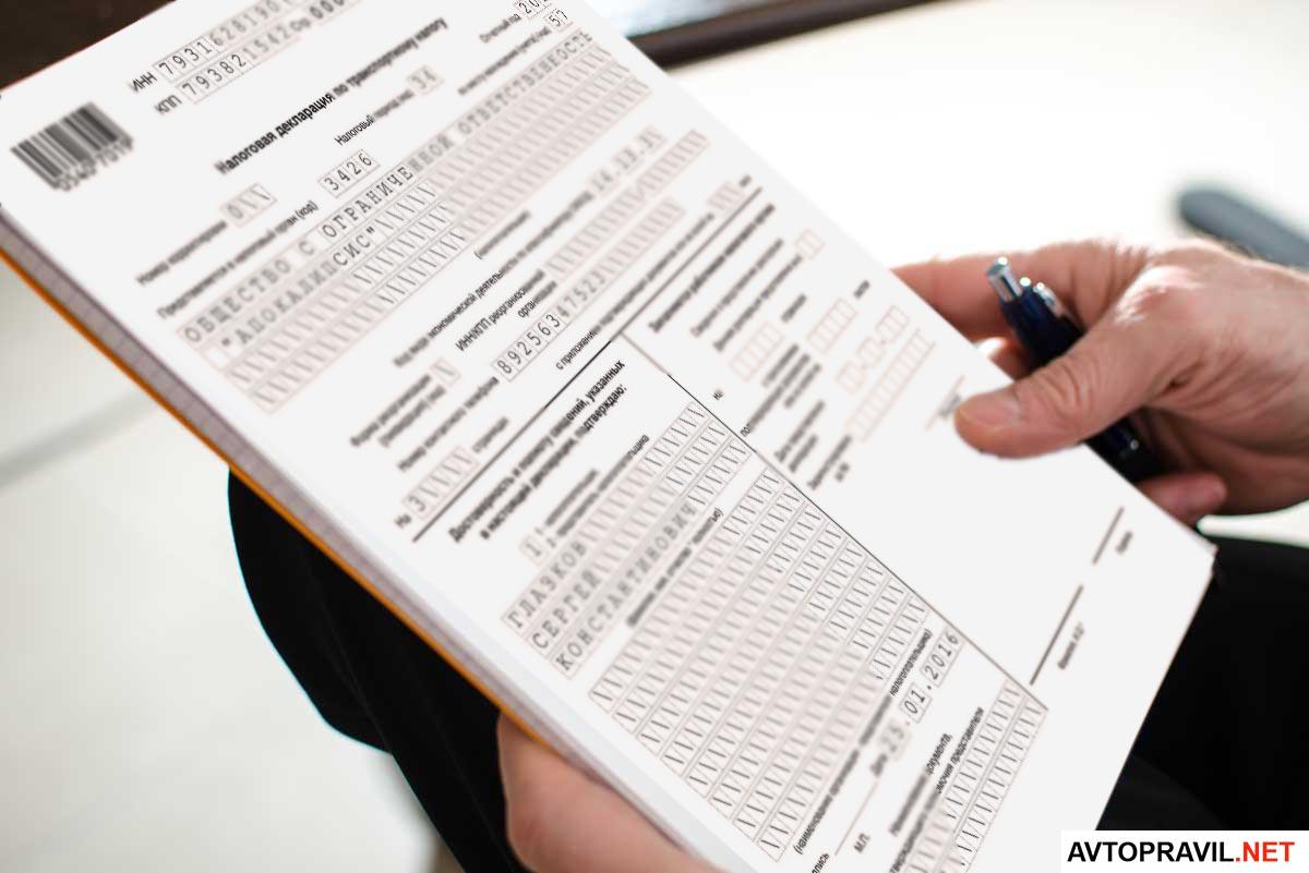 Человек держащий в руках налоговую декларацию и ручку