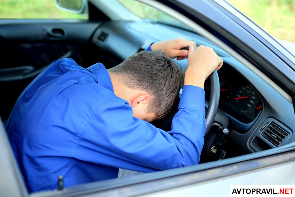 Пьяный водитель лежащий на руле