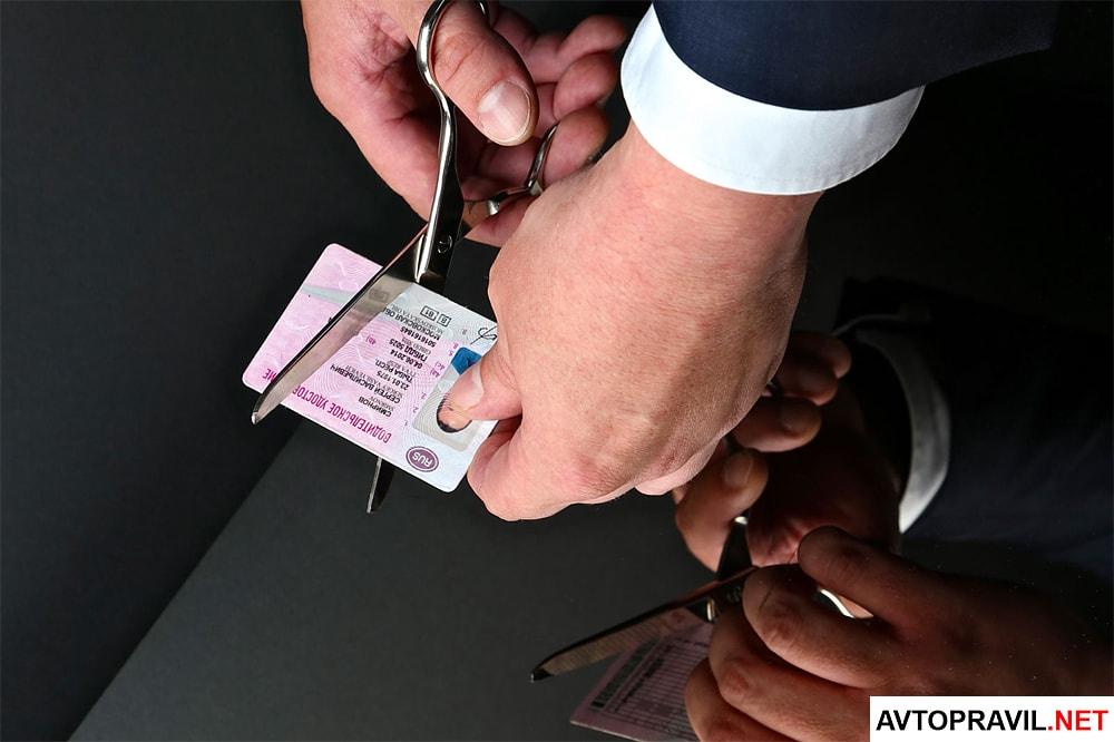Водительское удостоверение перерезают ножницами