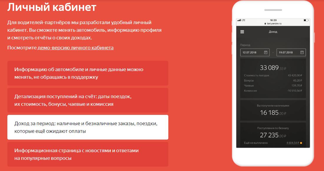 Личный кабинет водителей Яндекс.Такси