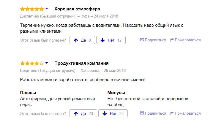 Отзывы водителей Яндекс.Такси