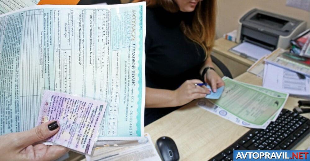 Полис ОСАГО и водительские права в женской руке