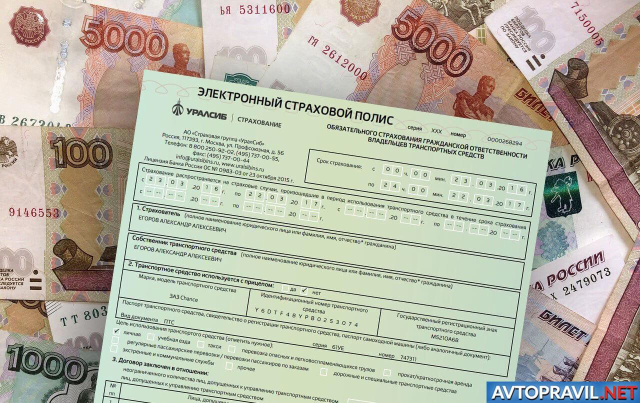 Полис ОСАГО на денежных купюрах