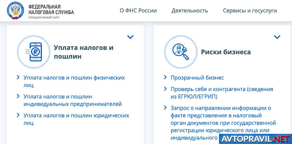 Окно сайта ФНС